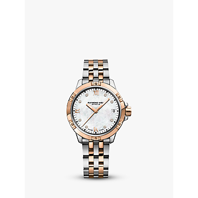 Raymond Weil 5960-SP500995 Women's Tango Diamond Date Two Tone Bracelet Strap Watch, Silver/Rose Gold