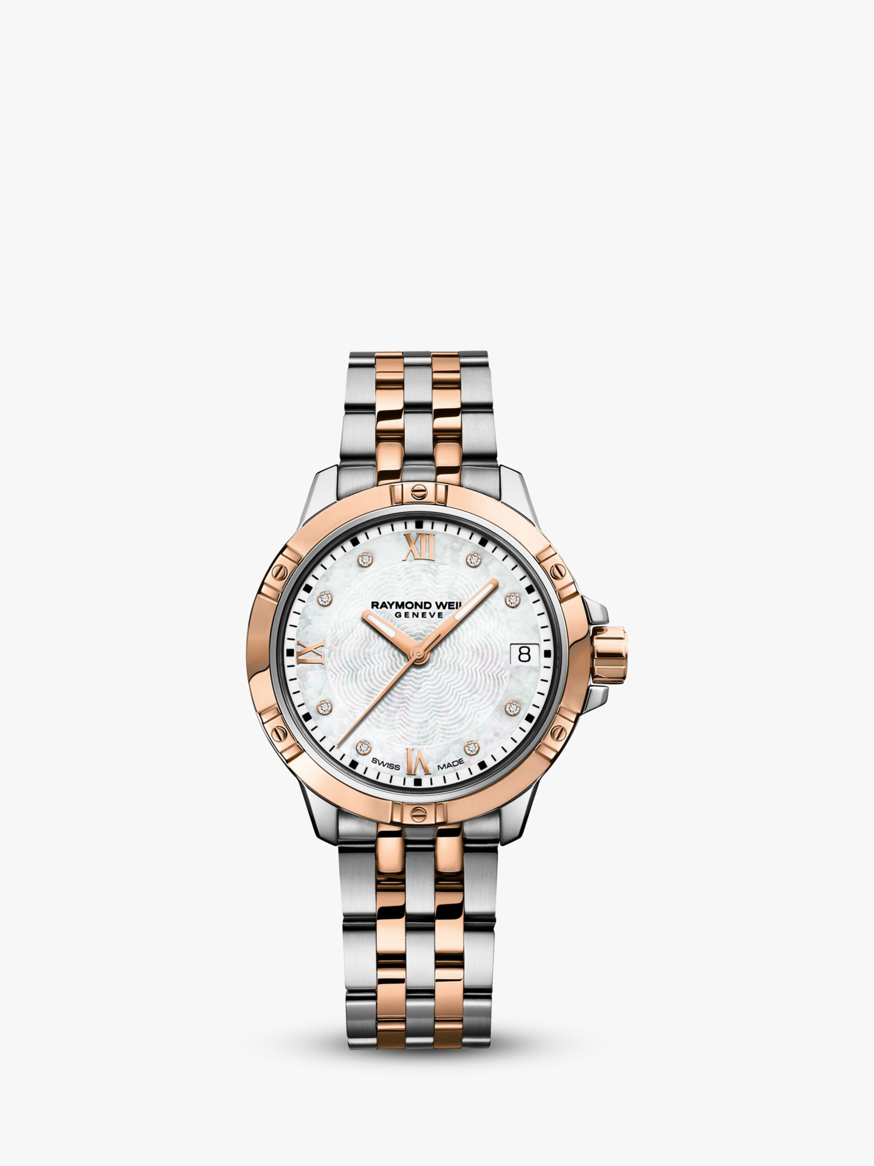 Raymond Weil Raymond Weil 5960-SP500995 Women's Tango Diamond Date Two Tone Bracelet Strap Watch, Silver/Rose Gold
