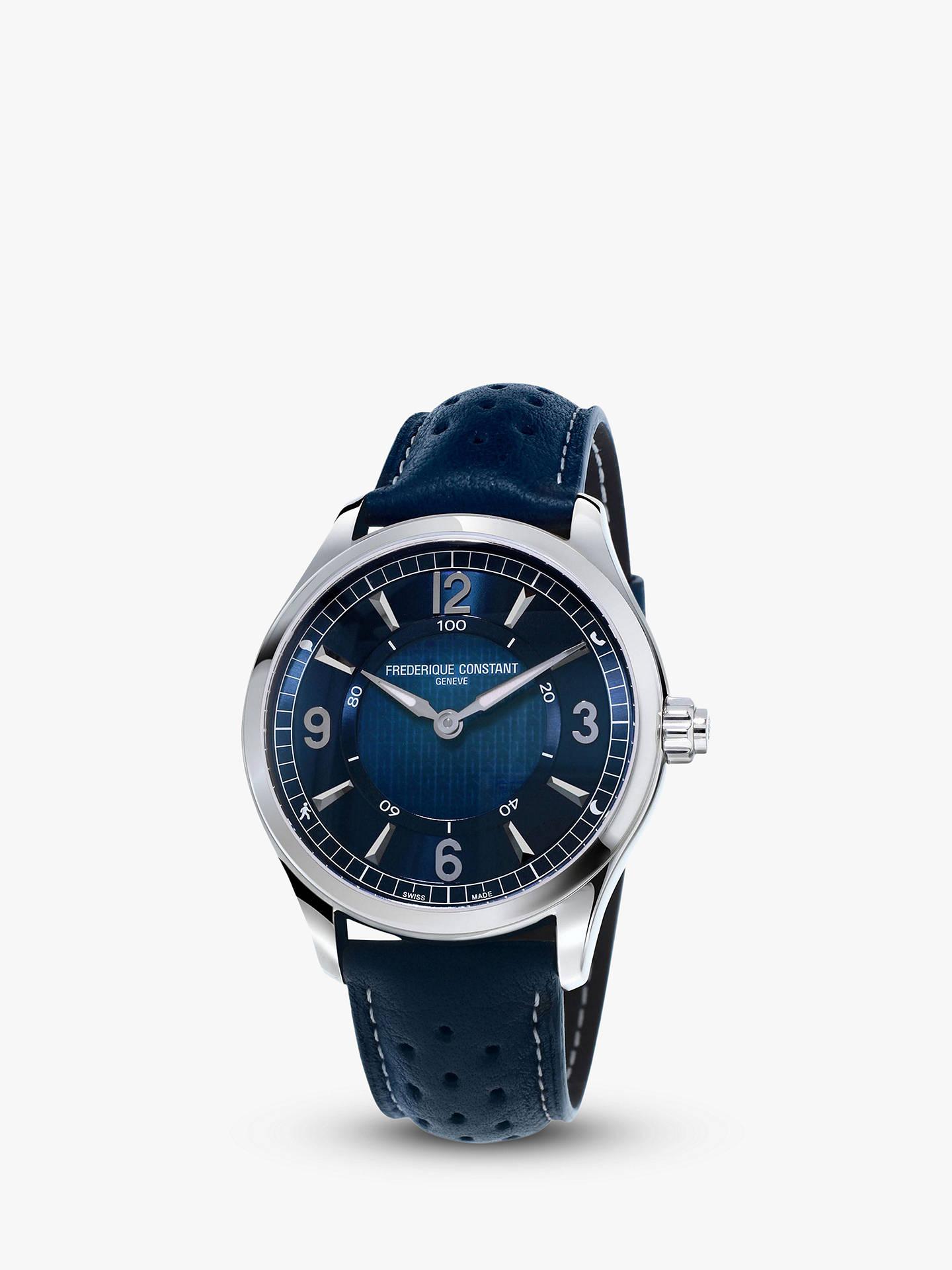 BuyFrédérique Constant FC 282AN5B6 Men s Horological Smartwatch Leather Strap Watch Navy line at johnlewis