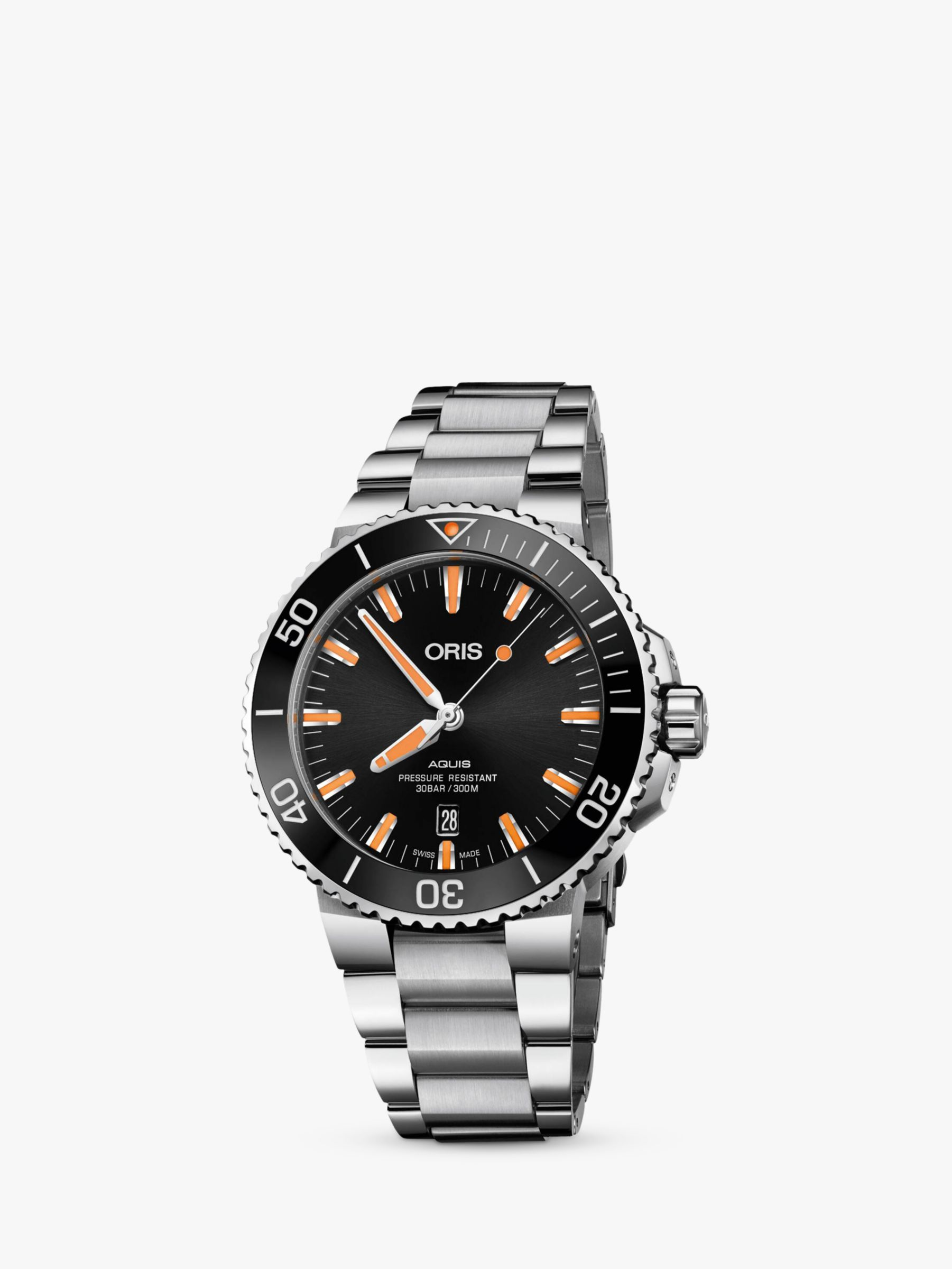 Oris Oris 0173377304159-0782405PEB Men's Aquis Diver's Date Automatic Bracelet Strap Watch, Silver/Black