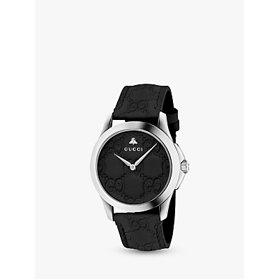Gucci YA1264031 Unisex G-Timeless Signature Leather Strap Watch, Black