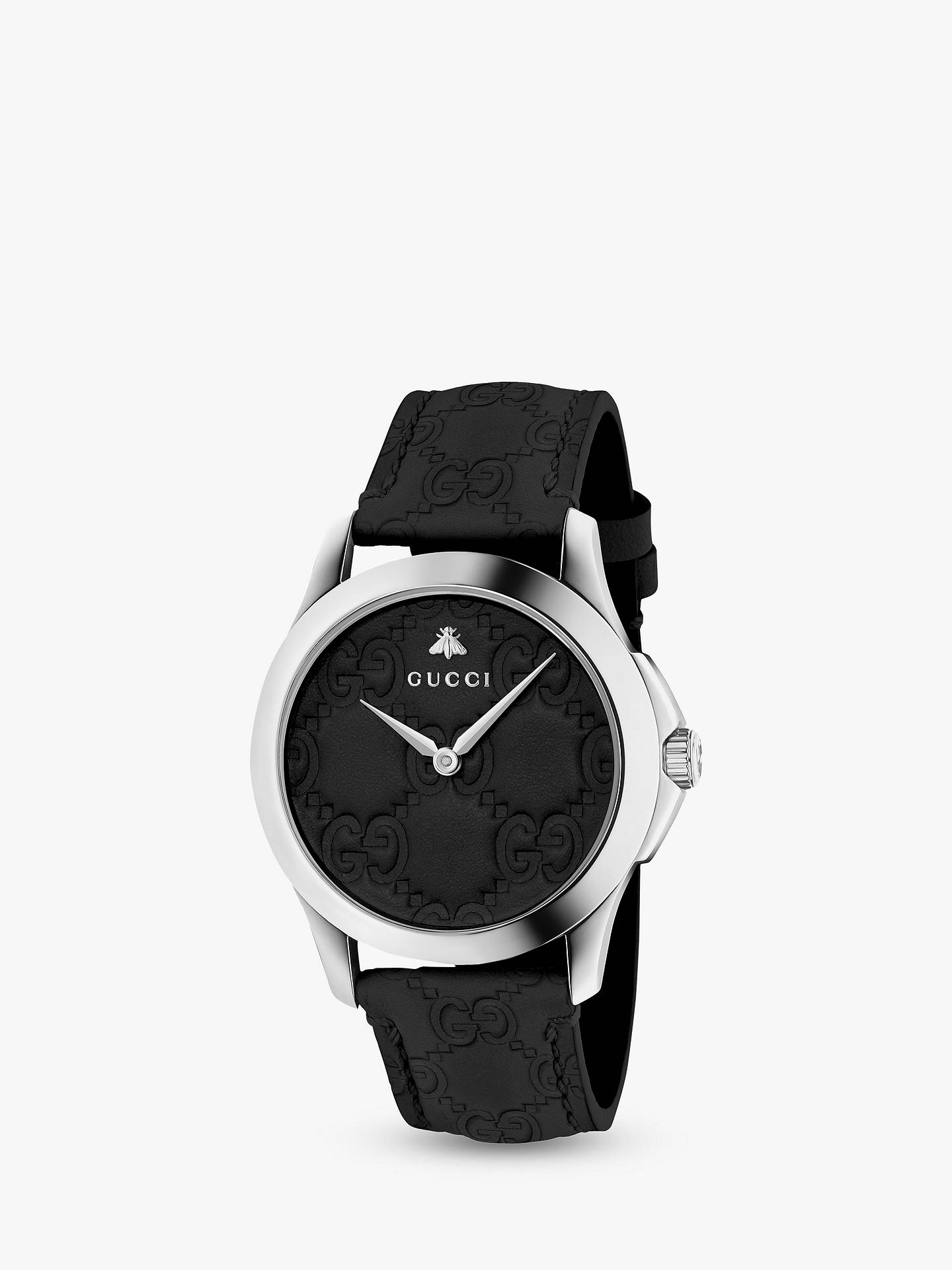 679cadfa5d4 Gucci YA1264031 Unisex G-Timeless Signature Leather Strap Watch ...