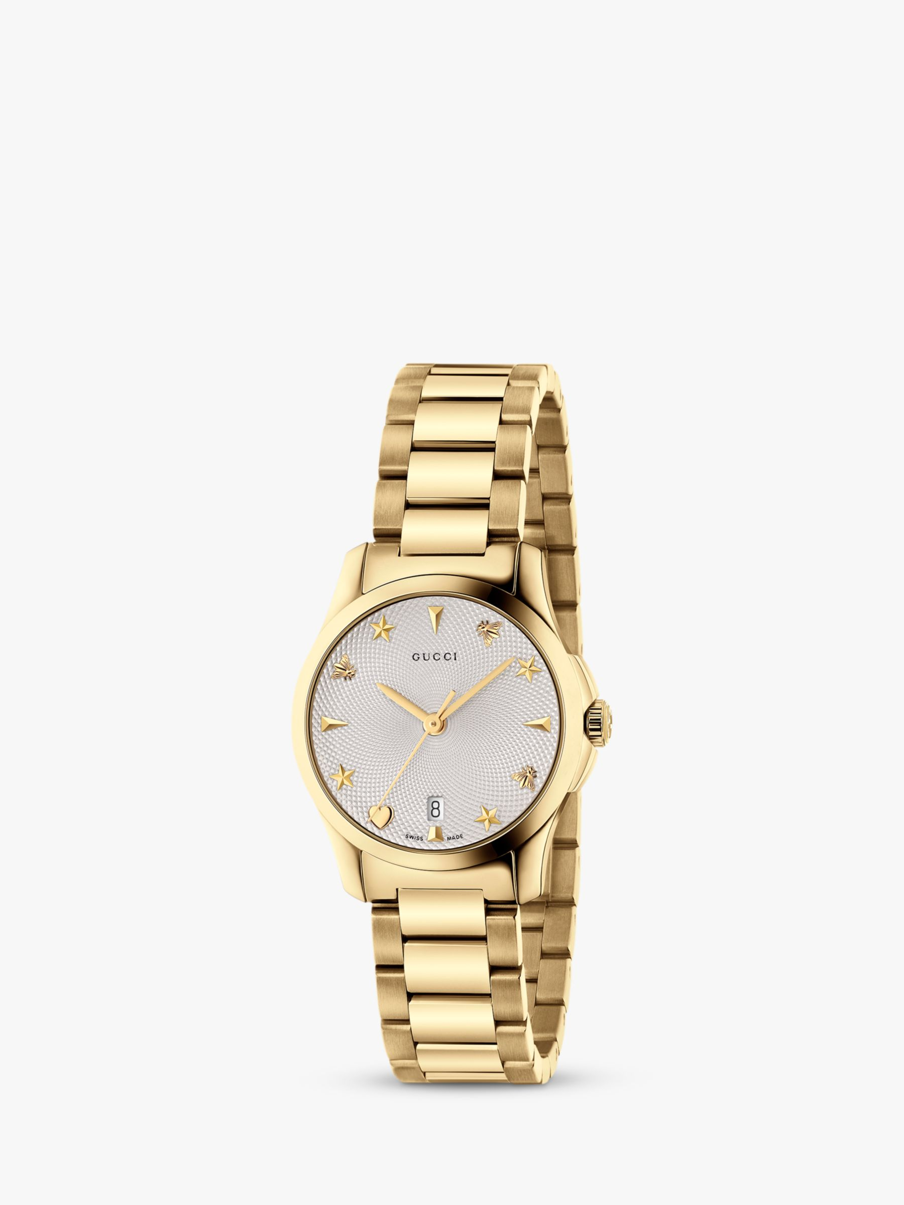 Gucci Gucci YA126573 Women's G-Timeless Date Bracelet Strap Watch, Gold/White