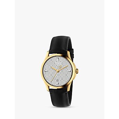 Gucci YA1264027 Unisex G-Timeless Date Leather Strap Watch. Black/Silver