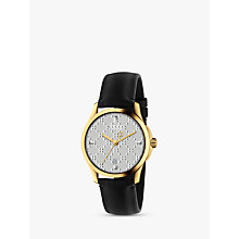Buy Gucci YA1264027 Unisex G-Timeless Date Leather Strap Watch. Black/Silver Online at johnlewis.com