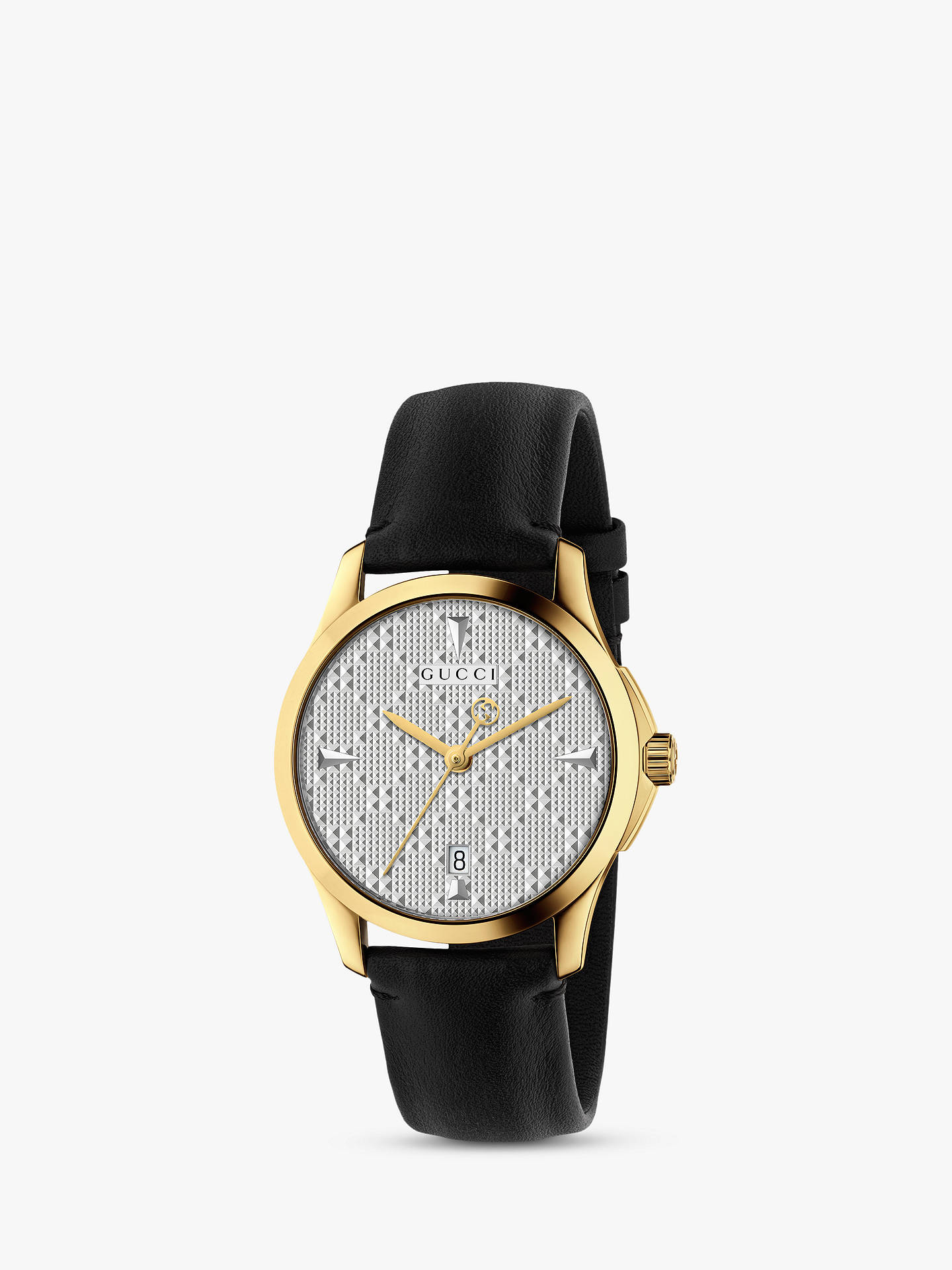 b9b353acbc3 Gucci YA1264027 Unisex G-Timeless Date Leather Strap Watch. Black ...