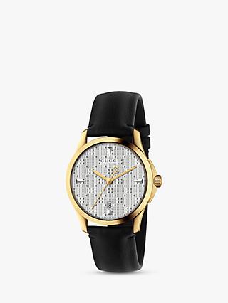 5c29b919fe0 Gucci YA1264027 Unisex G-Timeless Date Leather Strap Watch. Black Silver