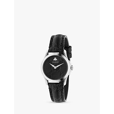 Gucci G-Timeless Signature YA126579 Women's Leather Strap Watch, Black/Silver