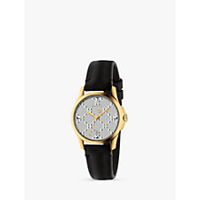 Buy Gucci YA126571 Women's G-Timeless Diamante Date Leather Strap Watch, Black Online at johnlewis.com