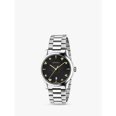 Gucci YA1264029 Unisex G-Timeless Date Bracelet Strap Watch, Silver/Black