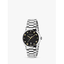 Buy Gucci G-Timeless YA1264029 Bracelet Watch, Silver/Black Online at johnlewis.com