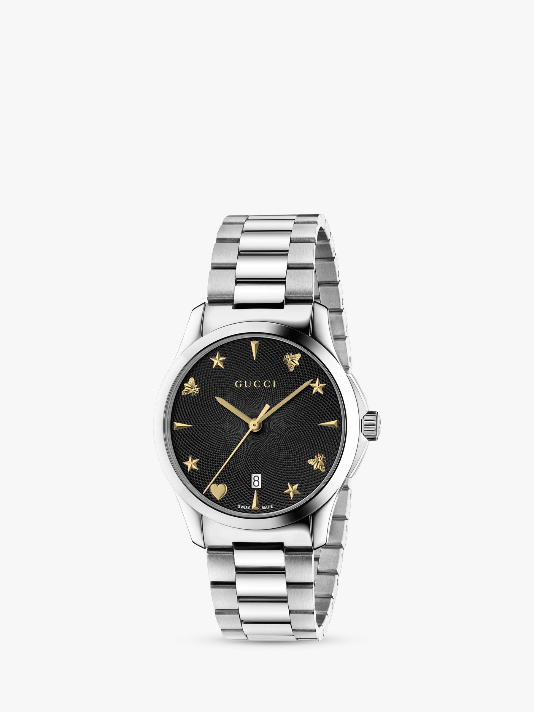 Gucci Gucci YA1264029 Unisex G-Timeless Date Bracelet Strap Watch, Silver/Black