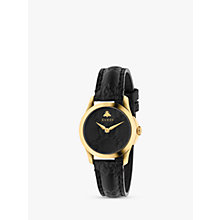 Buy Gucci YA126581 Women's G-Timeless Signature Stainless Steel Leather Strap Watch, Black/Gold Online at johnlewis.com