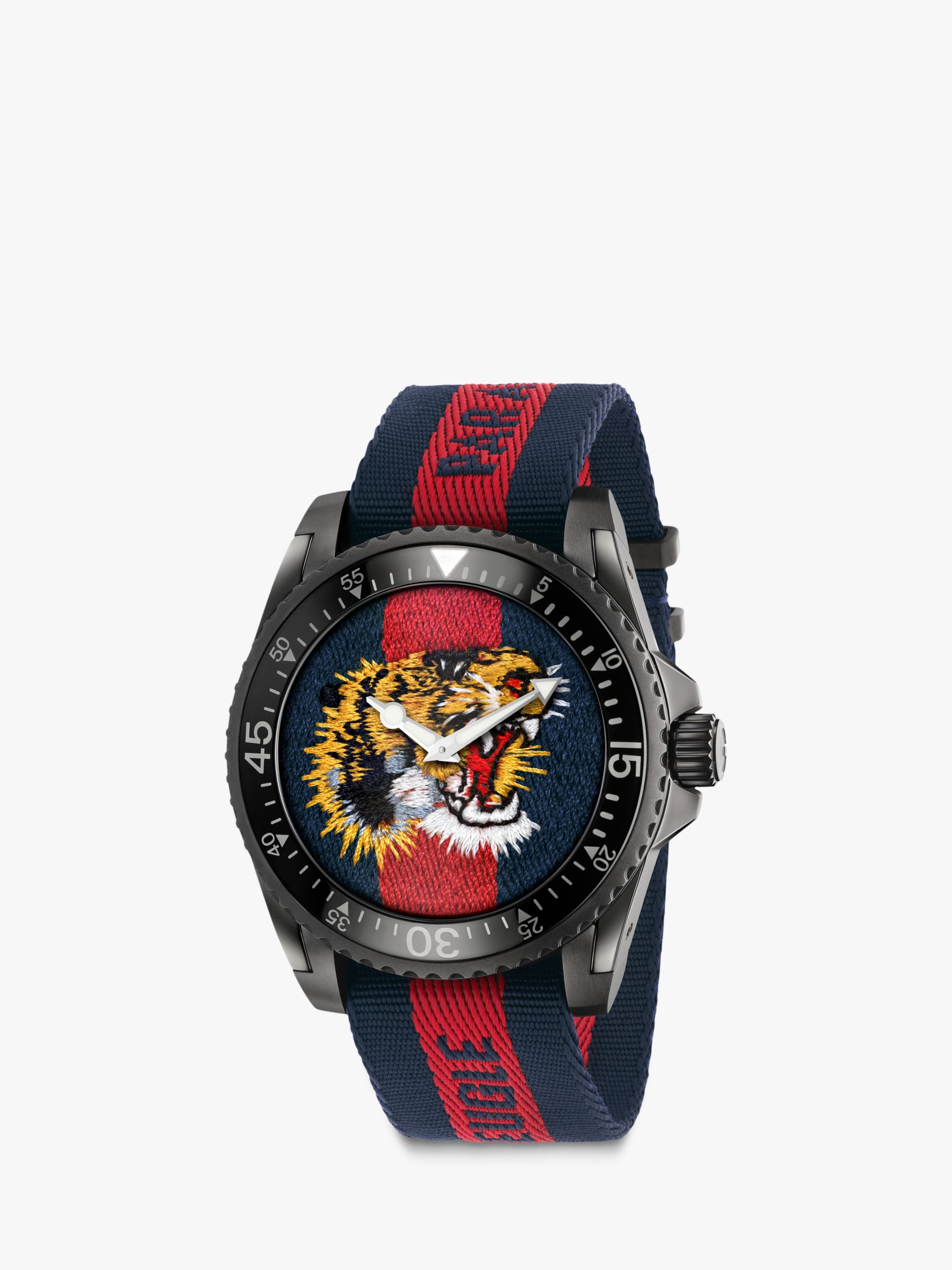 Buy Gucci YA136215 Men's Dive Fabric Strap Watch, Red/Blue Online at johnlewis.com