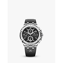 Buy Maurice Lacroix AI1018-SS001-330-2 Men's Aikon Chronograph Date Rubber Strap Watch, Black Online at johnlewis.com