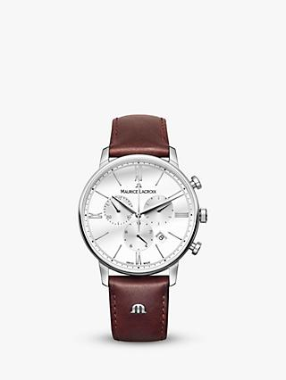 Maurice Lacroix EL1098-SS001-112-1 Men's Eliros Chronograph Date Leather Strap Watch, Dark Brown/White