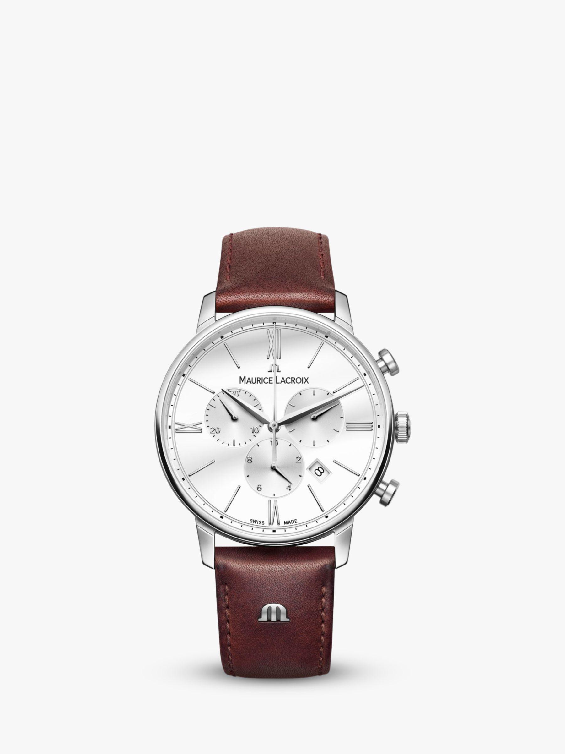 Maurice Lacroix Maurice Lacroix EL1098-SS001-112-1 Men's Eliros Chronograph Date Leather Strap Watch, Dark Brown/White