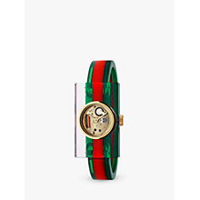 Buy Gucci YA143501 Women's Plexiglas Bangle Strap Watch, Red/Green Online at johnlewis.com