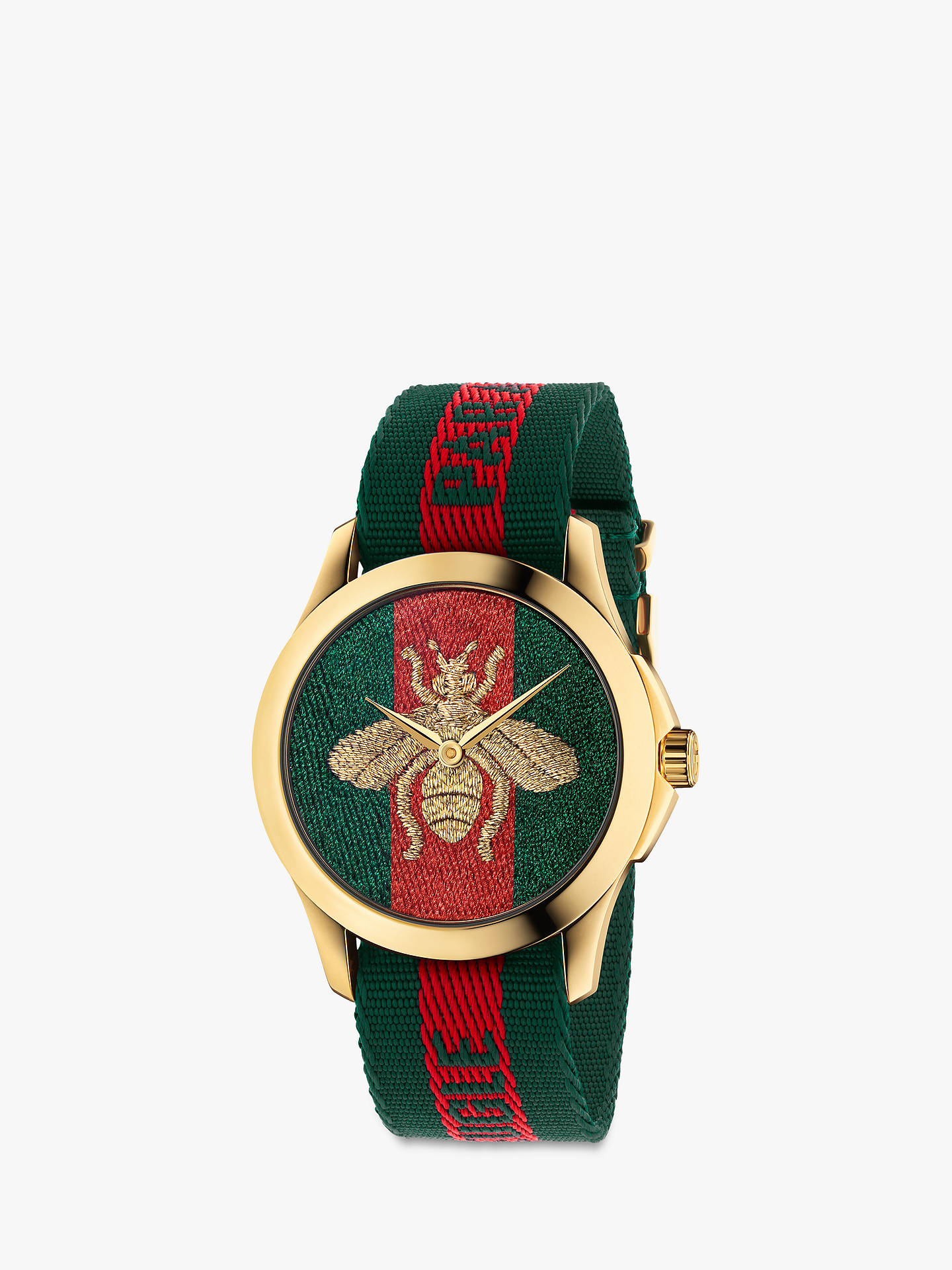 aec22882a Buy Gucci YA126487 Unisex Le Marché des Merveilles Fabric Strap Watch, Red/ Green Online ...