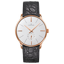 Buy Junghans 027/5202.00 Men's Meister Manual Leather Strap Watch, Black/White Online at johnlewis.com