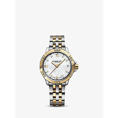 Raymond Weil 5960-STP00995 Women's Tango Diamond Date Two Tone Bracelet Strap Watch, Silver/Gold