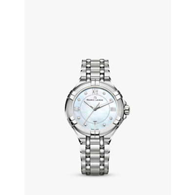 Maurice Lacroix AI1004-SS002-170-1 Women's Aikon Diamond Date Bracelet Strap Watch, Silver/Mother of Pearl