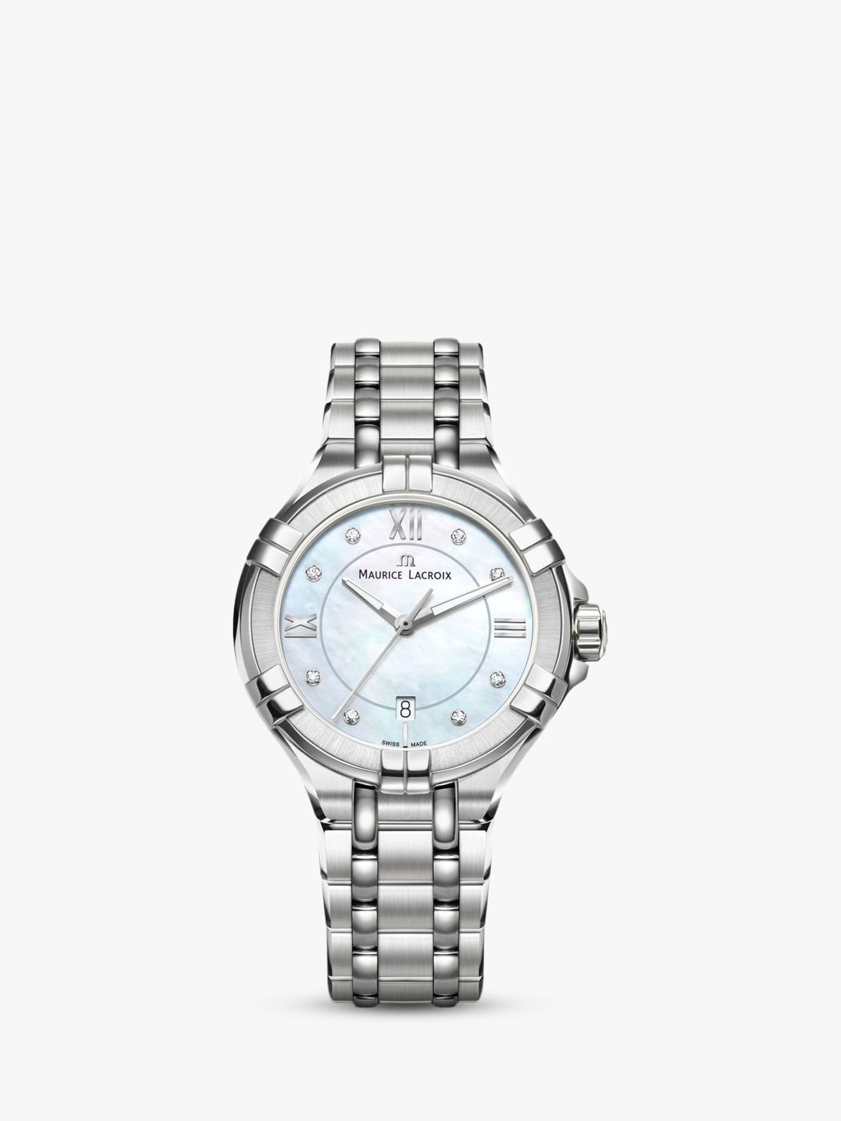 Maurice Lacroix Maurice Lacroix AI1004-SS002-170-1 Women's Aikon Diamond Date Bracelet Strap Watch, Silver/Mother of Pearl