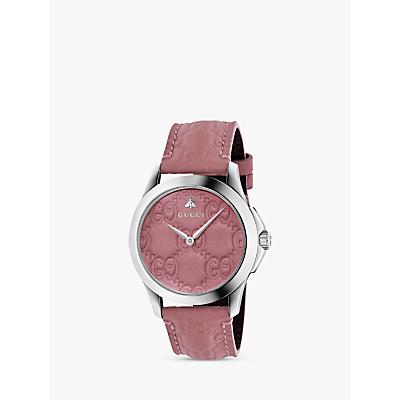 Gucci YA1264030 Unisex G-Timeless Signature Leather Strap Watch, Pink