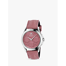 Buy Gucci YA1264030 Unisex G-Timeless Signature Leather Strap Watch, Pink Online at johnlewis.com