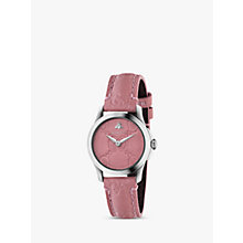 Buy Gucci YA126578 Women's G-Timeless Signature Stainless Steel Leather Strap Watch, Pink Online at johnlewis.com