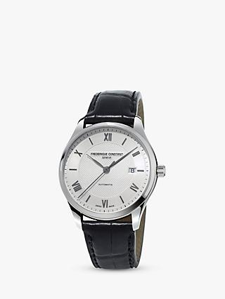 Frédérique Constant FC-303MS5B6 Men's Classics Automatic Date Leather Strap Watch, Black/Silver