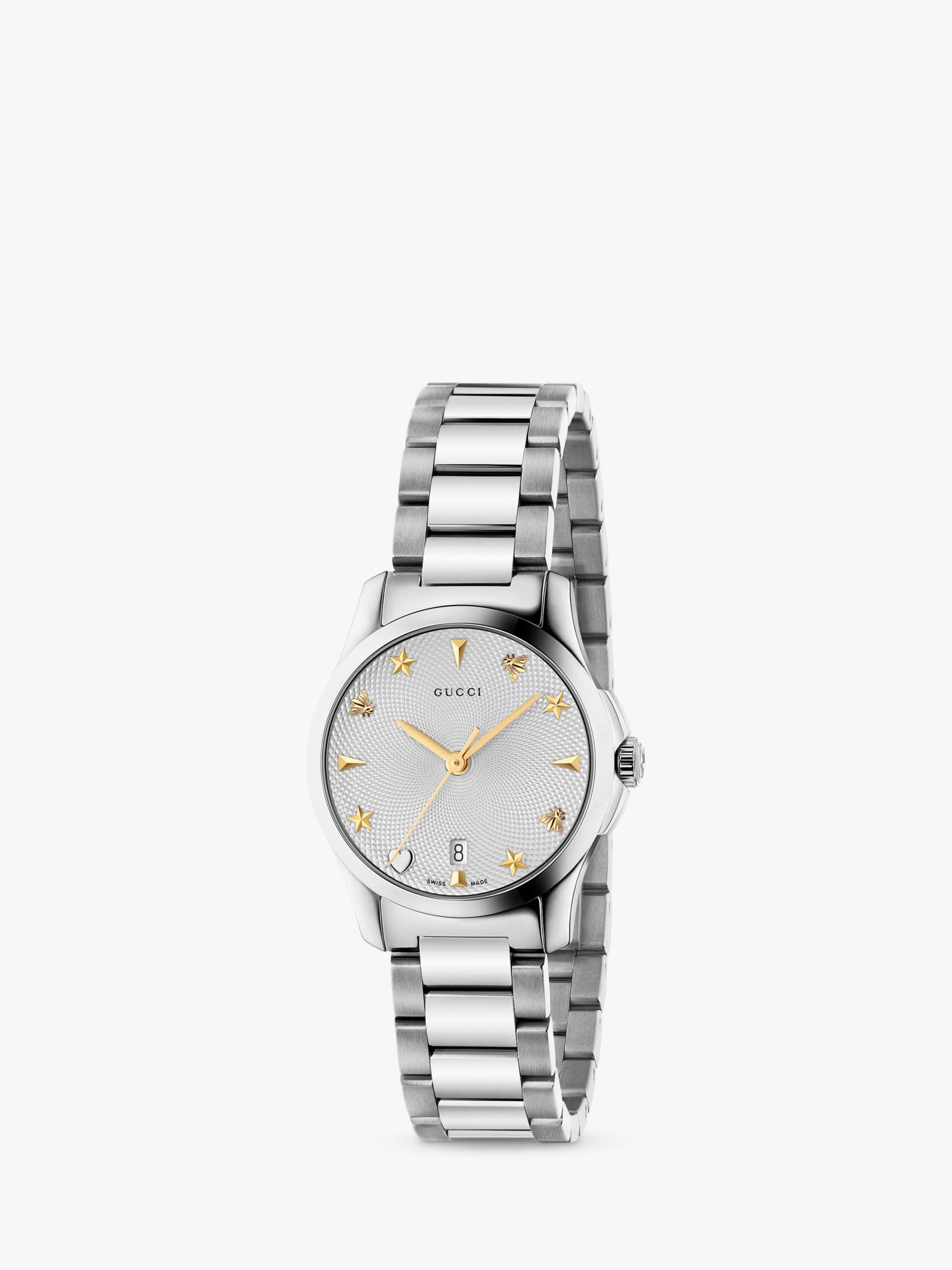 Gucci Gucci YA126572 Women's G-Timeless Date Bracelet Strap Watch, Silver