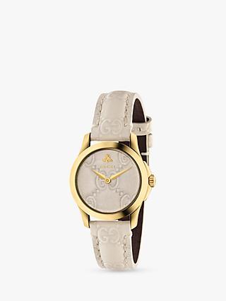 5c8f9cb47d4 Gucci YA126580 Women s G-Timeless Leather Strap Watch