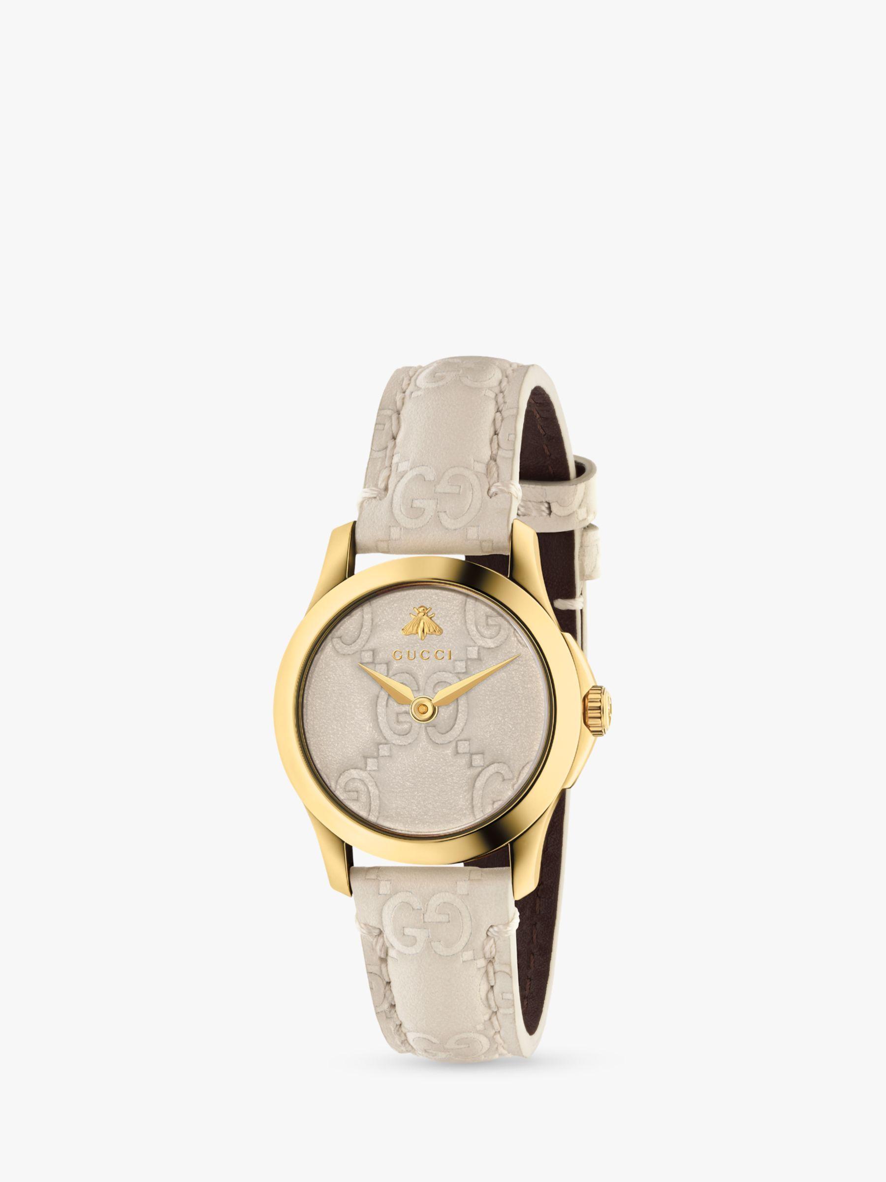 Gucci Gucci YA126580 Women's G-Timeless Leather Strap Watch, Cream