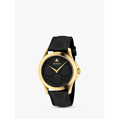 Gucci YA1264034 Unisex G-Timeless Signature Leather Strap Watch, Black