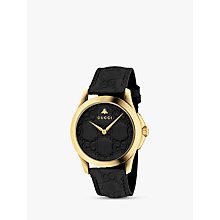 Buy Gucci YA1264034 Unisex G-Timeless Signature Stainless Steel Leather Strap Watch, Black/Gold Online at johnlewis.com