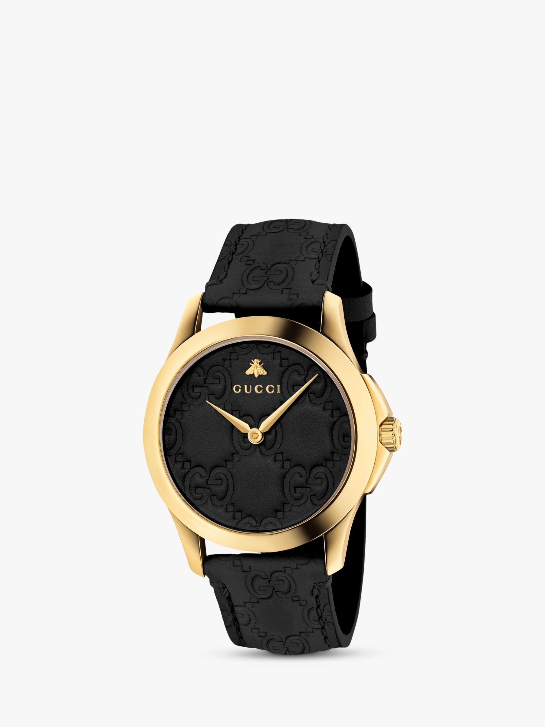 Gucci Gucci YA1264034 Unisex G-Timeless Signature Leather Strap Watch, Black