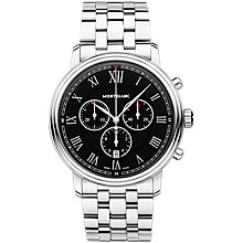 Buy Montblanc 117048 Men's Tradition Chronograph Date Bracelet Strap Watch, Silver/Black Online at johnlewis.com