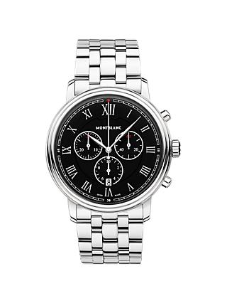 Montblanc 117048 Men's Tradition Chronograph Date Bracelet Strap Watch, Silver/Black