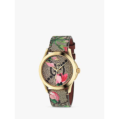 Gucci YA1264038 Women's G-Timeless Leather Strap Watch, Pink/Green