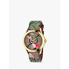 Buy Gucci YA1264038 Women's G-Timeless Leather Strap Watch, Pink/Green Online at johnlewis.com