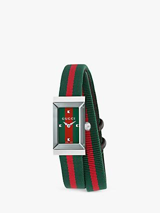 Gucci YA147503 Women's G-Frame Fabric Strap Watch, Red/Green