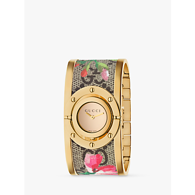 Gucci YA112443 Women's Twirl Fabric Strap Watch, Multi/Gold