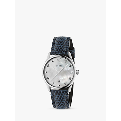 Gucci YA1264049 Women's G-Timeless Date Leather Strap Watch, Navy/Silver