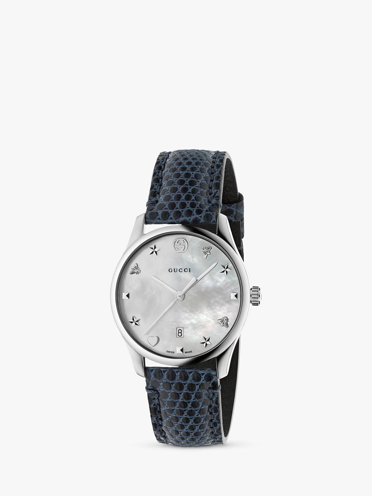 14783b54fbf6 Buy Gucci YA1264049 Women s G-Timeless Date Leather Strap Watch