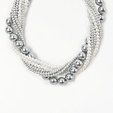 Buy John Lewis Multi Row Faux Pearl Beaded Necklace, Grey/White Online at johnlewis.com