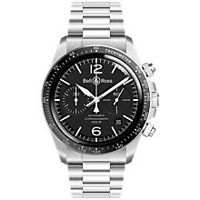 Buy Bell & Ross BRV294-BL-ST/SST Men's Vintage Automatic Chronograph Date Bracelet Strap Watch, Silver/Black Online at johnlewis.com