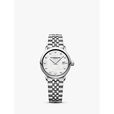 Raymond Weil 5629-ST97081 Women's Freelancer Date Bracelet Strap Watch, Silver/Mother of Pearl