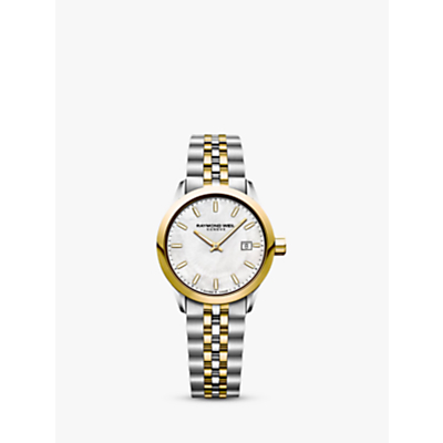 Raymond Weil 5626-STP97021 Women's Freelancer Date Bracelet Strap Watch, Silver/Gold