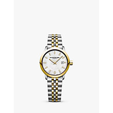 Buy Raymond Weil 5626-STP97021 Women's Freelancer Date Bracelet Strap Watch, Silver/Gold Online at johnlewis.com